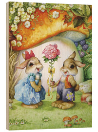 Hout print  Rabbits and rose - Petar Meseldzija
