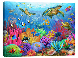 Canvas print  Turtle coral reef - Adrian Chesterman