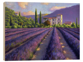 Hout print  Lavender field with Abbey - Jay Hurst