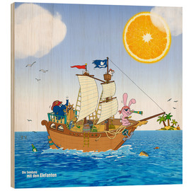 Hout print  Pirate ship in search of treasure