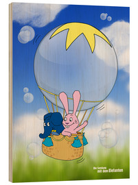 Hout print  Balloon ride into the blue