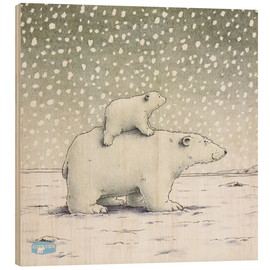 Hout print  The Little Polar Bear on the back
