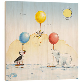Hout print  The little polar bear is celebrating a party