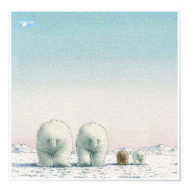 Premium poster The little polar bear and his family