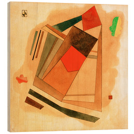 Hout print  Red in a Square - Wassily Kandinsky