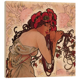 Hout print  The Seasons 1896: Summer (detail) - Alfons Mucha