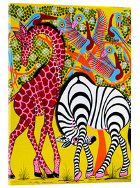 Acrylglas print  Zebra with Giraffe in the bush - Omary