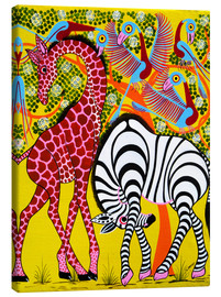 Canvas print  Zebra with Giraffe in the bush - Omary