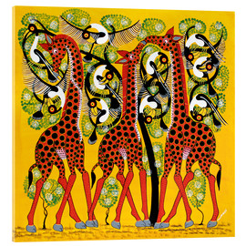 Acrylglas print  Giraffe Trio and flock of birds - Chiwaya