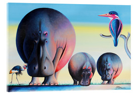 Acrylglas print  Hippo mother with cubs - Mkura