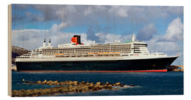 Hout print  Queen Mary 2 in the port of La Palma - MonarchC
