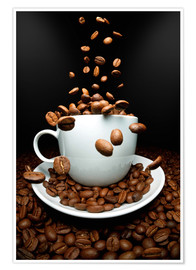 Premium poster Falling coffee beans cup