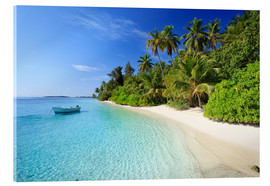 Acrylglas print  Tropical beach with palms, Maldives - Matteo Colombo