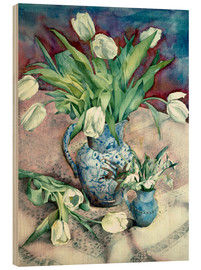Hout print  Tulips and Snowdrops - Julia Rowntree