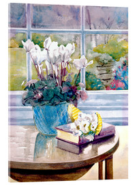 Acrylglas print  Flowers and book on table - Julia Rowntree