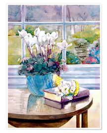 Premium poster  Flowers and book on table - Julia Rowntree