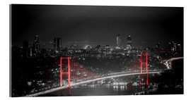 Acrylglas print  Bosporus-Bridge at night - color key red (Istanbul / Turkey) - gn fotografie