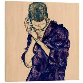 Hout print  Youth with violet frock - Egon Schiele