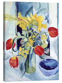 Canvas print  Still life with tulips - August Macke