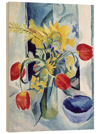 Hout print  Still life with tulips - August Macke