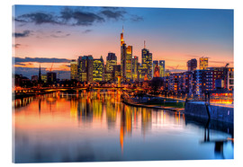 Acrylglas print  Frankfurt skyline at sunset reflected in the Main - HADYPHOTO