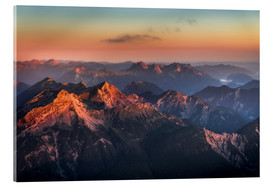 Acrylglas print  Alps Panorama from Zugspitze at Sunrise - Andreas Wonisch