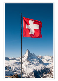 Premium poster Matterhorn with swiss flag. Zermatt, Switzerland.