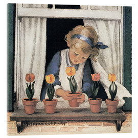 Acrylglas print  Potting tulips - Jessie Willcox Smith