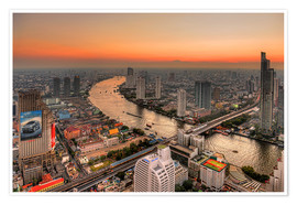 Premium poster Bangkok and the Chao Phraya river at dusk