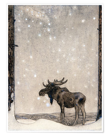 Premium poster  Elk in the Snow - John Bauer