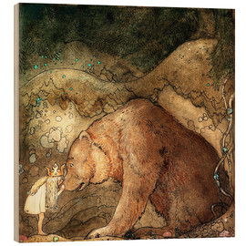 Hout print  Poor little bear - John Bauer