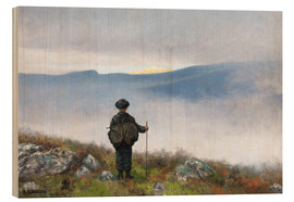 Hout print  Far, far away Soria Moria Palace shimmered like Gold - Theodor Kittelsen