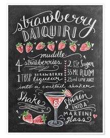 Premium poster  Strawberry Daiquiri recept (Engels) - Lily & Val