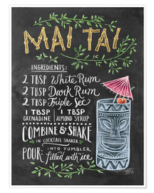 Premium poster  Mai Tai recept (Engels) - Lily & Val