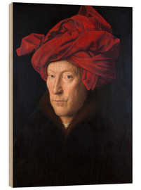 Hout print  Man with a red turban - Jan van Eyck