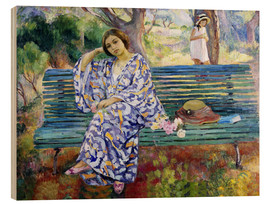 Hout print  Young woman sitting on a bench - Henri Lebasque