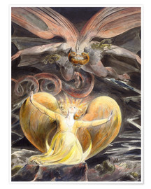 Premium poster  The great red dragon and the woman clothed with sun - William Blake