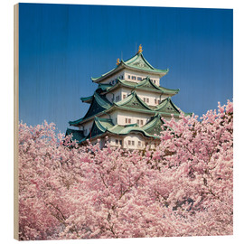 Hout print  Nagoya castle with cherry blossom in spring - Jan Christopher Becke
