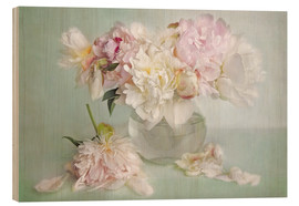 Hout print  still life with peonies - Lizzy Pe
