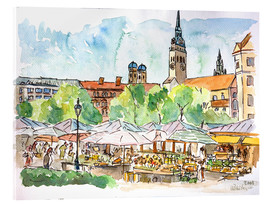 Acrylglas print  Munich Food Market Square Day in Summer Aquarell - M. Bleichner