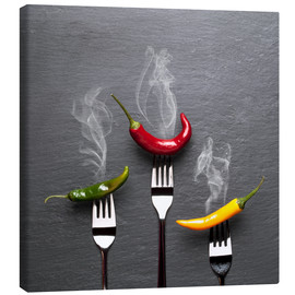 Canvas print  steaming colorful chili peppers - pixelliebe