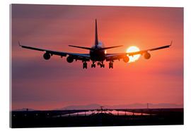 Acrylglas print  Aeroplane landing at sunset - David Nunuk