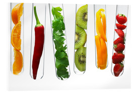 Acrylglas print  Fruit and vegetables in test tubes