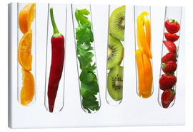 Canvas print  Fruit and vegetables in test tubes