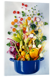 Acrylglas print  Vegetables falling into a pot