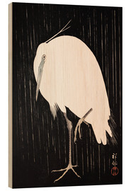 Hout print  White Crane in the rain - Ohara Koson