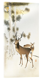 Acrylglas print  Deer and roe deer in winter - Ohara Koson