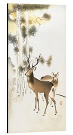 Aluminium print  Deer and roe deer in winter - Ohara Koson