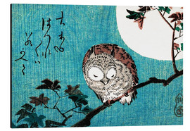 Aluminium print  Small Horned Owl on Maple Branch under Full Moon - Utagawa Hiroshige