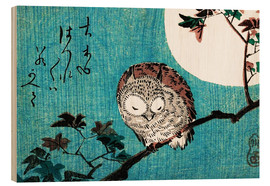 Hout print  Small Horned Owl on Maple Branch under Full Moon - Utagawa Hiroshige
